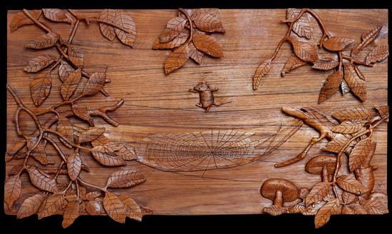 James atkin wood padauk high relief carving